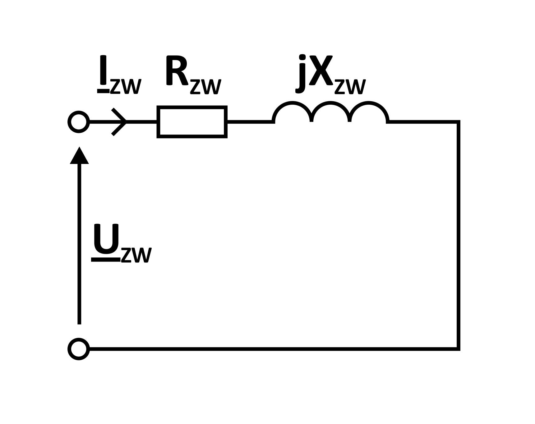 uproszczony schemat zastępczy stanu zwarcia pomiarowego transformatora