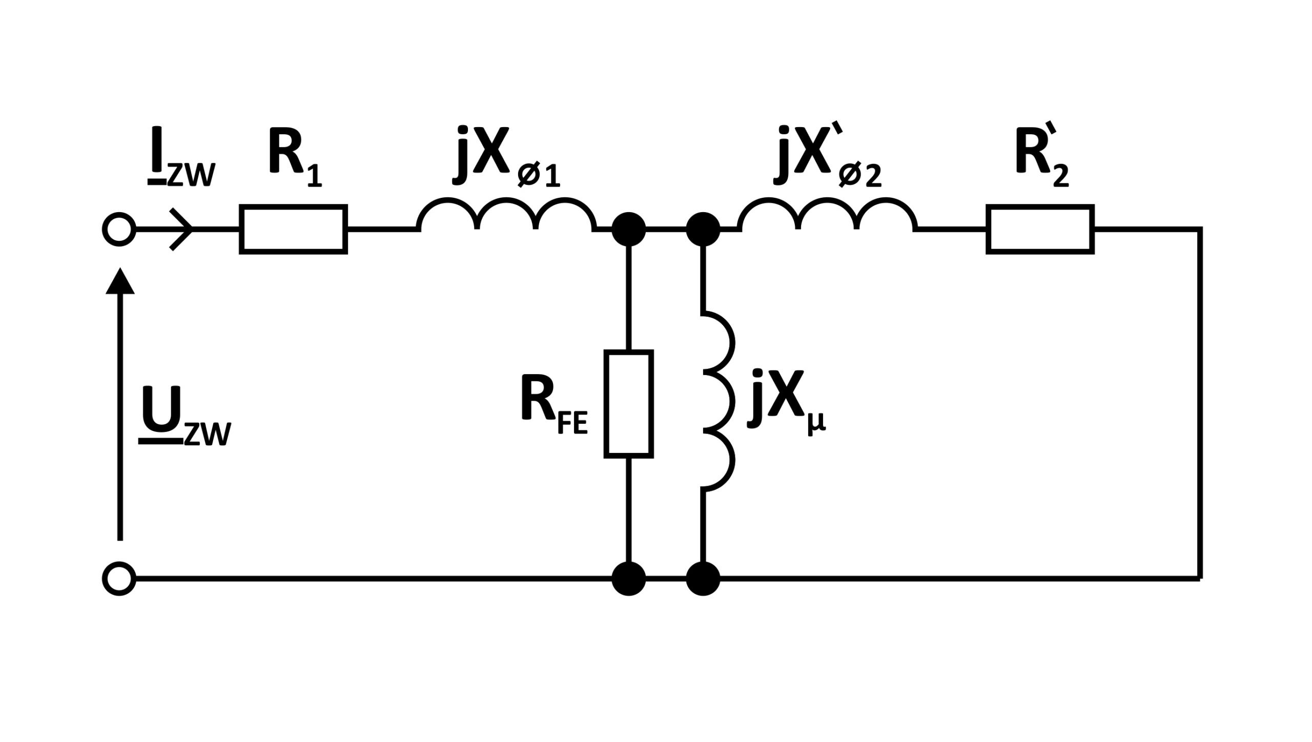 schemat stanu zwarcia pomiarowego transformatora